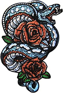 The Flower and Snake Patch Embroidered Applique Badge Iron On Sew On Emblem