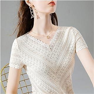 Wavy الرباط قصيرة الأكمام مثير الخامس الرقبة قميص الإناث الدانتيل الأعلى تيز قمم الملابس (Color : Tops, Size : XXL)