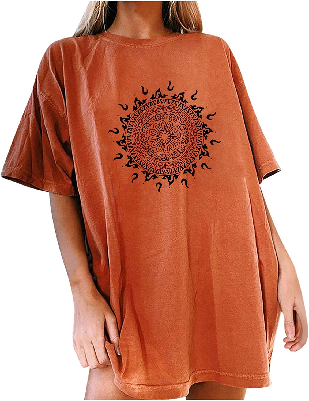 Oversized Vintage Sweatshirt Graphics Print Pullover Moon Sun Women Casual Printing Short Sleeves O-neck Loose T-shirt