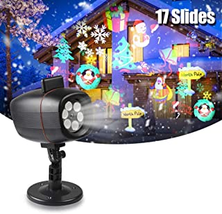 infinitoo Christmas Projector Lights, 17 Patterns Rotating Snowflake LED Projector Spotlight,Waterproof Outdoor Landscape ...