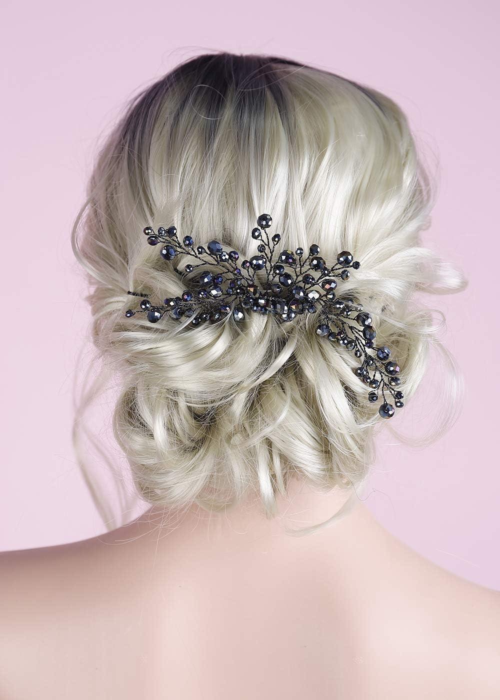 BERYUAN Peine de pelo negro elegante para mujer, ónix negro, gran peineta para el pelo de la vid, accesorio para el pelo de novia, accesorio de regalo para su fiesta (negro)