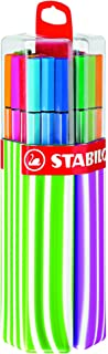 STABILO Pen 68 Twin Pack Premium Felt-Tip Pen - Pink/Green, Box of 20