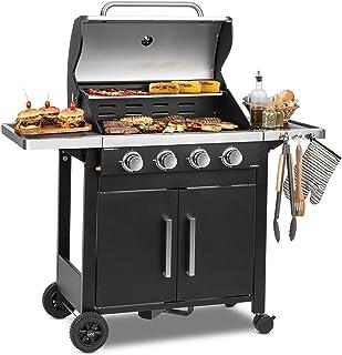 KLARSTEIN Tomahawk 4.0 T - Barbecue à gaz, 4 brûleurs en INOX, 4X 3,2 KW / 932 g/h, Allumage Piézo intégré, Répartition Un...