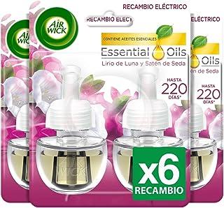 Air Wick Eléctrico - Recambios de ambientador automático eléctrico, esencia para casa con aroma a Lirio de Luna y Satén de Seda - pack de 6