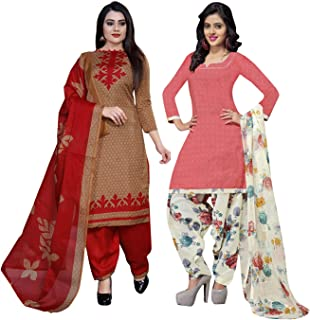 Rajnandini Women's Light Brown And Peach Cotton Printed Unstitched Salwar Suit Material (Combo Of 2) (Free Size)