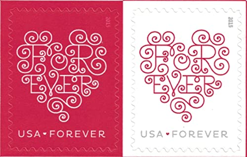 (100 stamps) - USPS Forever Hearts Forever Stamps - 100 Stamps (5 sheets of 20)