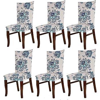 HMWish Pack de 6 Fundas sillas Comedor Elásticas, Fácil de Limpiar ...