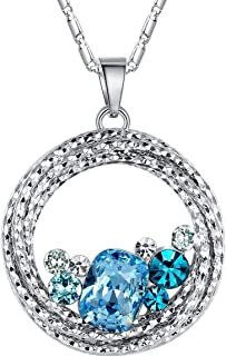 Leafael Gifts for Women Ocean Wave Necklace Made with Swarovski Crystal Aquamarine Blue Green Multi Stone Circle Pendant W...