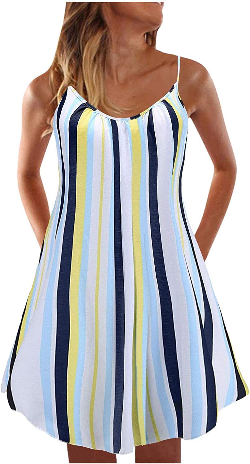 Jaqqra Summer Dresses for Women Sexy Casual Sleeveless Loose Ruffled Print Sling Sun Dresses for Beach Party Cami Dress