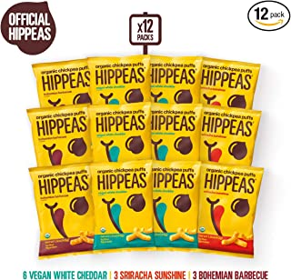 HIPPEAS Organic Chickpea Puffs + Variety Pack   1.5 ounce, 12 count   Vegan, Gluten-Free, Crunchy, Protein Snacks