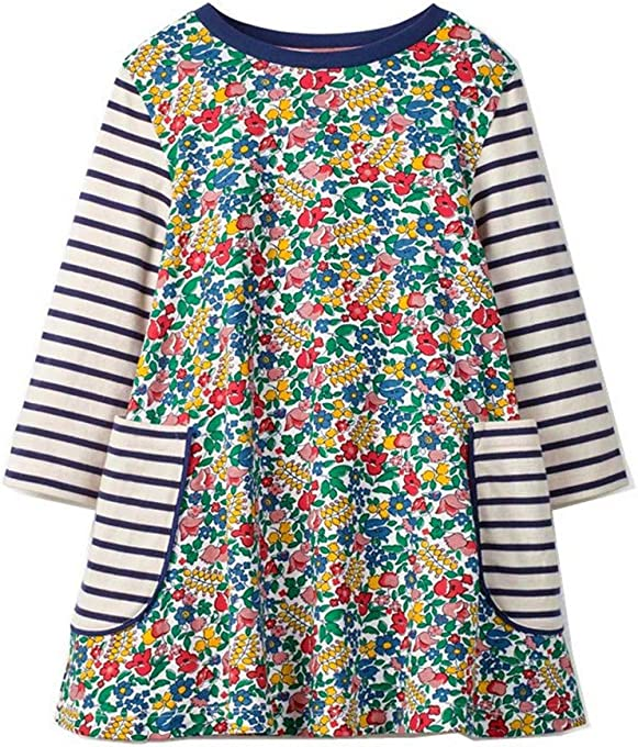 HILEELANG Toddler Little Girl Long Sleeve Cotton Cartoon Applique Strip Shirt Party Dress