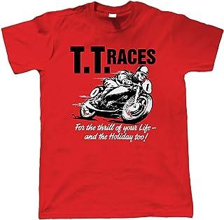 Vectorbomb TT Races Mens Retro Motorcycle T-Shirt | Isle of Man TT Formula 1 Superbikes Touring Cars | Timeless Retro Vint...