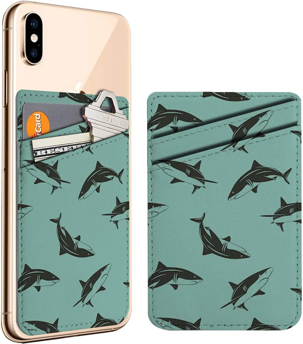 Sharks Cell Phone Stick On ID Credit Leather Card Store Holder Max 47% OFF Walle