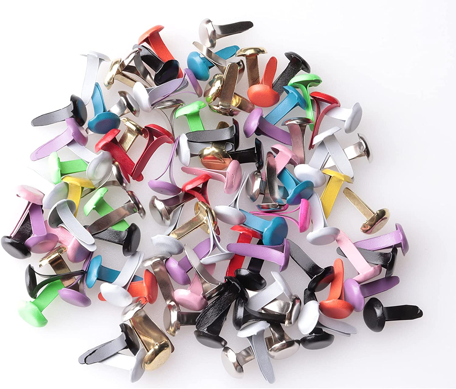 Sowaka 100 Pcs Mini Brads Multi Round Paper Be super welcome Small Metal Br All items in the store Color