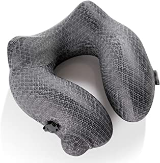 YUTRD Inflatable Travel Neck Pillow for Airplane Train Car Washable Pillowcase U Shaped Office Napping Pillow (Color : Gray)