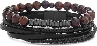 Steve Madden Stainless Steel Dark Red Beaded Black Leather Bracelet for Men Stackable Set