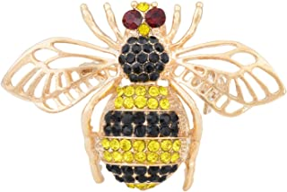 Fenni Vintage Inspired Honey Bee Bumblebee Crystal Rhinestone Insect Series Brooch Pin Pendant for Women