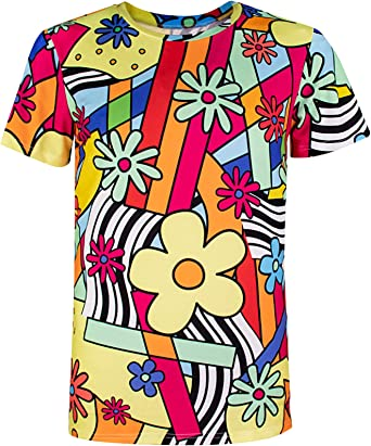 COSAVOROCK Disfraz de Camiseta con Flores Hippie para Hombre