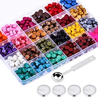 Paxcoo 624Pcs Sealing Wax Beads, Sealing Wax for Wax Seal Stamp, Hexagon Wax Seal Beads with A Wax Spoon and 4Pcs Tea Cand...