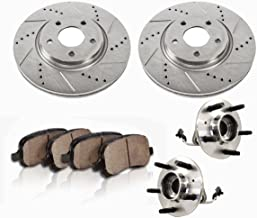 C513124X2DS [2] FRONT [ 5 Lug 4WD AWD ABS ] Wheel Hub Bearing Assemblies + Drilled/Slotted Rotors + Brake Pads