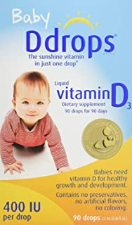 (跨境自营)(包税) 美国版 Ddrops 加拿大 婴儿天然维生素D3 滴剂90滴 助钙吸收