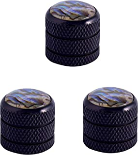 Guyker 3 Pcs Guitar Knobs for 6mm Dia. Shaft Pots- Brass Dome Control Knob Replacement for Tele Electric Bass Guitar (Black)