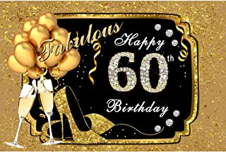 Yeele 10x8ft Vinyl Fabulous 60Th Birthday Backdrop for Photography Diamond Gold Balloons Heels Champagne Background Sixty Years Old Birthday Party Banner Decoration Photo Booth Shoot Studio Props