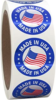 """1.5"""" Round Made in The USA Labels on a Roll, Red and Blue on Metallic Silver, 500 Stickers, 1.5 inch Diameter"""