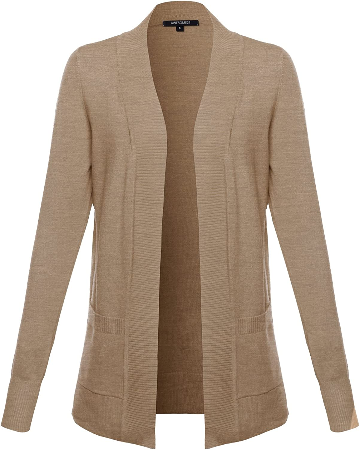 Awesome21 Solid Soft Stretch Open Front Knit Cardigan Camel Size XL