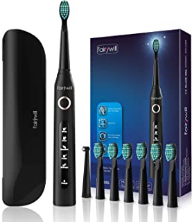 Electric Toothbrush Sonic Toothbrush with 5 Optional Modes Charged 4 Hours at Least 30 Days Use, Travel Toothbrush with Travel Case and 8 Toothbrush Heads Black for Adults by Fairywill(FW-507+420)