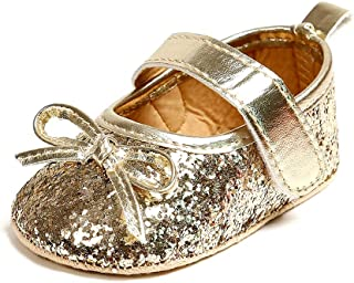 Weixinbuy Toddler Baby Girl's Sequin Bowknot Anti-Slip Soft Sole Mary Jane Flats Princess Shoes