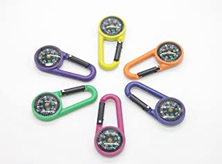 HNYM-Multicolore Mousqueton Boussole Compass Portable en Métà lentilal pour randonnée /Voyage/Camping/Sauvages/Navigation-6 Pcs