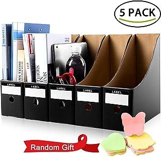 ALLYAOFA File Magazine Holder, 5 PCS Kraft Paper Magazine Rack Files Folder, Storage Organiser Sorter Storage Shelf Excell...