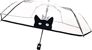SMATI Clear Folding Umbrella - Compact - Automatic Open - Sturdy - Black Cats - French Bulldogs - Transparent - French Design