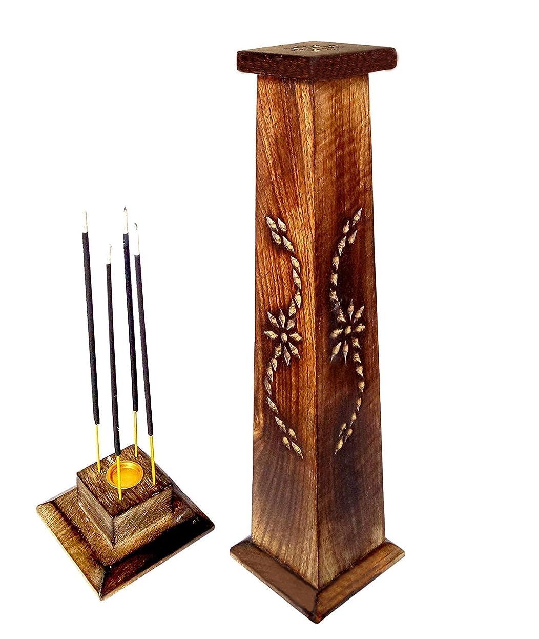 最大化する絶妙ビート木製香炉Ideal for Aromatherapy、禅、Spa、Vastu、レイキChakra Votive Candle Garden Incense Tower 12?