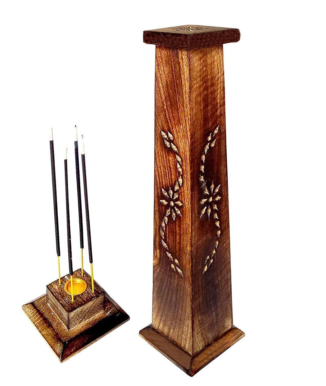 パテ甘やかすドラム木製香炉Ideal for Aromatherapy、禅、Spa、Vastu、レイキChakra Votive Candle Garden Incense Tower 12?