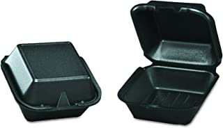 Genpak SN225-3L Black Color 1 Large Compartment Sandwich Foam Hinged Dinner Container Lid 125-Pack (Case of 4)