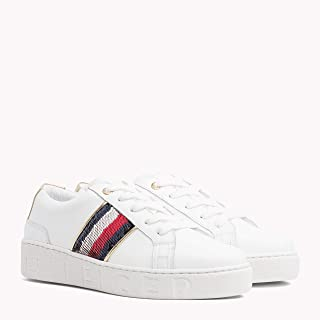 TOMMY HILFIGER Women's Signature Sequinned Lace-Up Trainers Signature Sequinned Lace-Up Trainers
