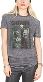 Queen T Shirt News Of The World 新しい 公式 レディーズ Skinny Fit Charcoal Burn Out