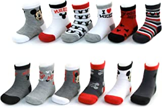 8e544071cd52 Disney Baby Boys Mickey Mouse Character Assorted Color 12 Pair Socks Set