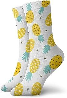 wwoman, Calcetines de vestir estampados para hombres y mujeres Piña y corazones (2) Calcetines coloridos divertidos y novedosos Crazy Crew 30 cm