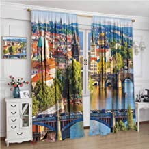 Kitchen Curtains W120 x L108 Inch,Thermal Insulating Blackout Curtain,Wanderlust Decor Collection,Summer Old Town Charles Bridge Over Vltava River in Prague Czech Republic Image,Ivory Blue Green