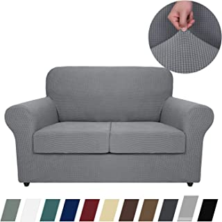 MAXIJIN 3 Piece Couch Covers for 2 Cushion Couch Super Stretch Loveseat Slipcover Dogs Pet Proof Fitted Furniture Protector Spandex Non Slip Sofa Love Seat Cover Washable (Loveseat, Light Gray)