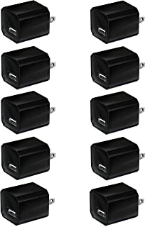 Boost Chargers 5W Power Adapter [10-Pack] USB Wall Charger 1A Cube for Outlet Plug Compatible for iPhone Xs Max 8 / X / 7 / 6S / Plus +, Samsung Galaxy, Motorola, HTC, Other Smartphones - Black