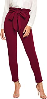 SOLY HUX Women's Elegant High Waist Tied Front Paperbag Pants Skinny Trousers