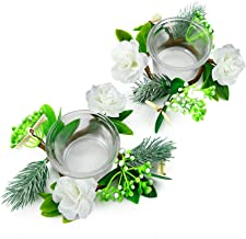 OYATON Glass Tealight Candle Holder Set with Small Flower Candle Rings Wreath 2 Packs for Spring Summer Easter Home Table ...