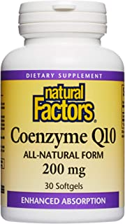 Natural Factors - Coenzyme Q10 200mg, Antioxidant Support with Enhanced Absorption, 30 Soft Gels