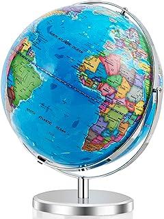 """Goplus 13 """"Illuminated World Globe World، 720 درجه چرخش چراغ LED داخلی برای نمایش در شب، برچسب های آسان برای خواندن بیش از 4000 مکان، Globe World Globe World Globe for Classroom and Office"""