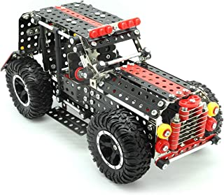 STEM Building & Learning Toys | 4x4 Metal Car Construction DIY Engineering Kit | Educational Model Vehicle Set for Boys, Girls, Kids Age 8 9 10 11 12 13 14, Teens, Adults | Build & Take Apart Project