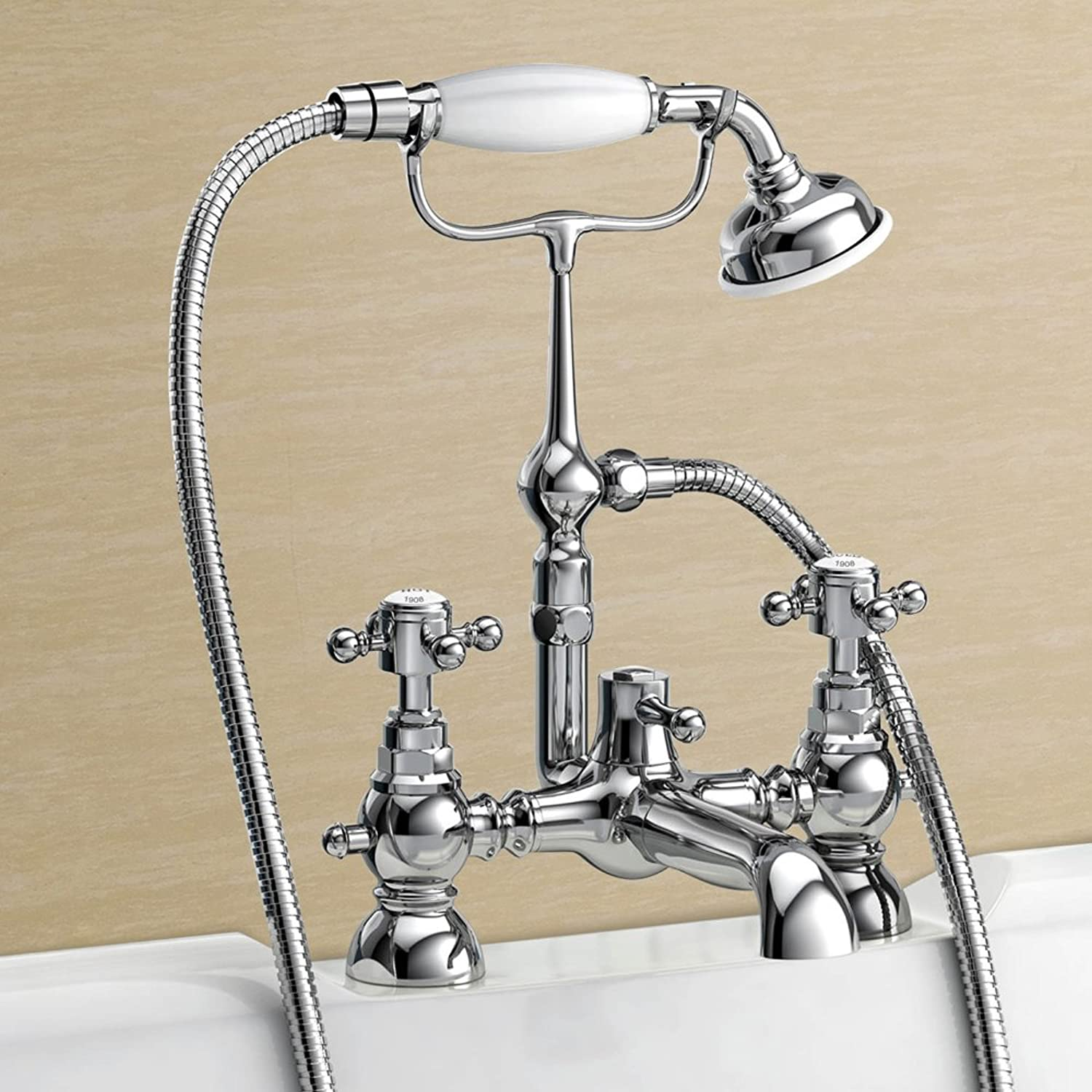 Home Standard   Clyde Traditional Hot and Cold Bath Shower Mixer Tap Chrome Ball Cross Head   Shower Hand Held Head
